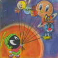 "Animation Art:Production Drawing, Up, Up, and Away by Avery Anderson, wood, pastel, coloredpencil on canvas, 12"" x 12""..."