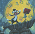 "Animation Art:Production Drawing, Alley Cat Uproar by Andrea Rosales, Acrylic on canvas, 12"" x12"" ..."