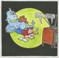 """Animation Art:Production Drawing, A Childhood Well Spent by Jim Brenneman II, watercolor oncanvas, 12"""" x 12"""" ..."""