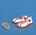 "Animation Art:Production Drawing, Monstrous Soles by Jeremy Holden, Acrylic on canvas, 12"" x12"" ..."