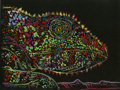"Animation Art:Production Drawing, Chameleon by John Canemaker, watercolor on paper applied tocanvas, 12"" x 12"" ..."