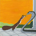 "Animation Art:Production Drawing, Rikki Tikki vs Nagaina by Zaida Rodriguez acrylic and prismacolor on canvas, 12"" x 12"" ..."