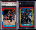 Basketball Cards:Lots, 1986 Fleer Clyde Drexler & Karl Malone Graded Pair (2)....