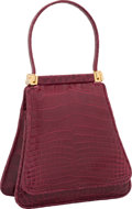 "Luxury Accessories:Bags, Judith Leiber Shiny Burgundy Alligator Top Handle Evening Bag.Excellent Condition. 5.5"" Width x 6"" Height x 2.5""Dept..."