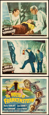"""House of Frankenstein (Universal, 1944). Title Lobby Card and Lobby Cards (2) (11"""" X 14""""). ... (Total: 3 Items..."""