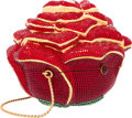 "Luxury Accessories:Accessories, Judith Leiber Full Bead Red Crystal Rose Minaudiere Evening Bag.Excellent Condition. 4"" Width x 3.5"" Height x 4""Dept..."