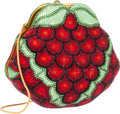 """Luxury Accessories:Bags, Judith Leiber Full Bead Red & Green Crystal Grapes MinaudiereEvening Bag. Fair Condition. 5.5"""" Width x 5"""" Height x2...."""