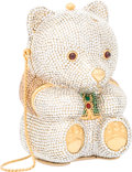 """Luxury Accessories:Bags, Judith Leiber Full Bead Silver & Green Crystal Teddy BearMinaudiere Evening Bag. Very Good Condition. 3.5"""" Width x5""""..."""