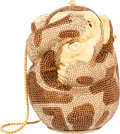 """Luxury Accessories:Bags, Judith Leiber Full Bead Brown & Tan Crystal See No Evil Monkey Minaudiere Evening Bag. Excellent Condition. 4"""" Width x..."""