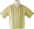 Music Memorabilia:Costumes, Buddy Holly Stage-Worn Striped Short-Sleeve Shirt. Yellow and greenstriped cotton shirt worn on stage by Holly from his per...