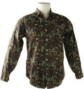 Music Memorabilia:Costumes, Buddy Holly Stage-Worn Patterned Shirt. Stage-worn. long-sleeved University Row brand cotton shirt with elaborate pattern de...