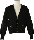 Music Memorabilia:Costumes, Buddy Holly Stage-Worn Black Wool Cardigan. From Saks Fifth Avenue,this stage-worn black wool twill and knit V-neck cardiga...