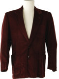 Music Memorabilia:Costumes, Buddy Holly Stage-Worn Corduroy Sport Coat. Maroon cotton corduroy sport jacket by Block Sportswear, worn on stage by Holly ...