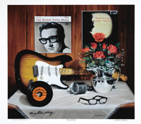 """Buddy Holly Artist Proof Signed by Maria Elena Holly. A second copy of the 25"""" x 21"""" artists proof of the pain..."""
