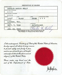Buddy Holly Passport. Issued to Charles Hardin Holly on January 23, 1958, it features a picture of Buddy and is signed t...