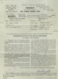 Buddy Holly Work Permit. One-page, double-sided British work permit, dated February 5, 1958 and made out to Holly, grant...
