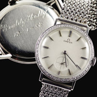 Buddy Holly Engraved Wristwatch (1958). The 14 karat white gold Omega gentlemen's wristwatch with 45 single cut diamonds...