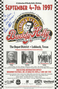 "Music Memorabilia:Posters, Buddy Holly Music Festival Poster Signed to Maria Elena Holly. An11"" x 17"" poster for the 1997 Buddy Holly Music Festival,..."