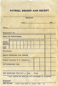 Buddy Holly Signed Payroll Receipt. Dated August 28, 1956, this payroll receipt for $19.18 (after deductions) from a con...