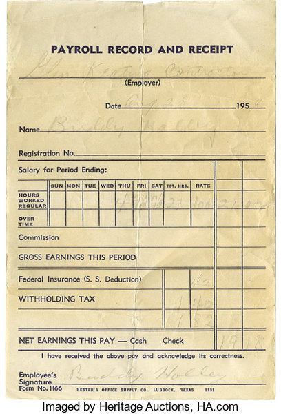 buddy holly signed payroll receipt dated august 28 1956 lot