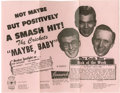 "Music Memorabilia:Posters, Buddy Holly and the Crickets Original Flyer. ""Not Maybe ButPositively a Smash Hit!"" declares this 8.5"" x 11"" vintage pink f..."