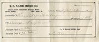 Buddy Holly Receipt for Amp. Written to Buddy Holly from B. E. Adair Music Co. and dated April 27, 1952, this receipt sh...