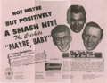 "Music Memorabilia:Posters, Buddy Holly and the Crickets Original Flyer. ""Not Maybe ButPositively a Smash Hit!"" declares this 8.5"" x 11"" vintage pink ..."