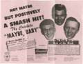 "Music Memorabilia:Posters, Buddy Holly and the Crickets Original Flyer. ""Not Maybe ButPositively a Smash Hit!"" declares this 8.5"" x 11"" vintage pink..."