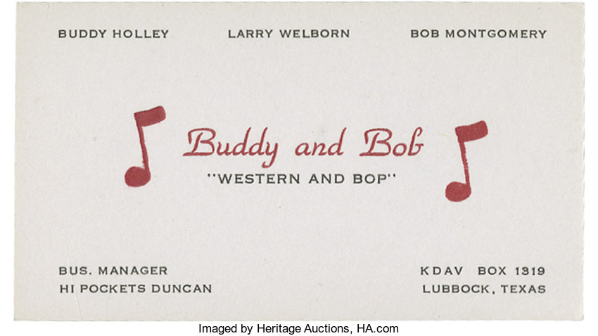 """Buddy Holly """"Buddy and Bob"""" Business Card. In the fall of 1949, 