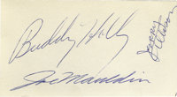"""Buddy Holly and the Crickets Autographs. This very nice 4"""" x 2.25"""" slip features a big, bold signature from Bu..."""