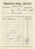 Music Memorabilia:Autographs and Signed Items, Buddy Holly Initialed Gas Receipt. From a gas purchase at YoakumsShell Service in St. James, Missouri, dated September 19, ...