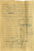 Music Memorabilia:Autographs and Signed Items, Norman Petty Signed Receipt. A receipt for the purchase of a Biblesigned by manager Norman Petty, who liked for Buddy Holl...