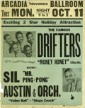 Music Memorabilia:Posters, The Drifters Arcadia Ballroom Concert Poster (1954). One of thenumerous R&B vocal groups that originated in the '50s, the D...