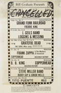 "Music Memorabilia:Posters, Bill Graham Upcoming Concert Poster (Bill Graham, 1972) Many of theperformers listed on this huge, 24"" x 36"" marquee displa..."