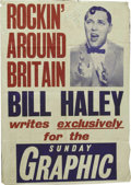 "Music Memorabilia:Posters, Bill Haley Rare British Poster - 1957. Rare original UK promotionalposter, 28"" x 19.5"", featuring an image of Haley with th..."