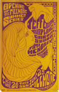 Music Memorabilia:Posters, Jefferson Airplane/Jimi Hendrix Experience Fillmore Concert PosterBG69 (Bill Graham, 1967) This incredible poster was marke...