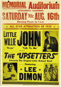 Music Memorabilia:Posters, Little Willie John and the Upsetters Concert Poster (1958). Posterfor an August 16, 1958 show featuring Little Willie John ...