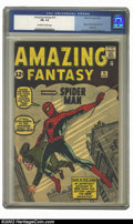 Silver Age (1956-1969):Superhero, Amazing Fantasy #15 (Marvel, 1962) CGC FN- 5.5 Off-white to whitepages. This issue contains the first appearance and origin...