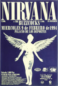 Music Memorabilia:Posters, Nirvana Palicio De Los Deportes Concert Poster (Spain, 1994) ForNirvana's second trip to Spain, the band traveled within a ...(Total: 2 )