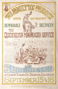 "Music Memorabilia:Posters, Quicksilver Messenger Service ""Hee Haw"" Concert Poster FD-D2 andPostcard (Family Dog, 1967) A faux ""Wild West"" look gives t...(Total: 2 )"