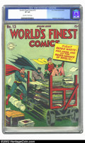 Golden Age (1938-1955):Superhero, World's Finest Comics #13 (DC, 1944) CGC VF 8.0 Off-white to white pages. Overstreet 2002 VF 8.0 value = $852....