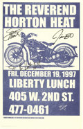 Music Memorabilia:Autographs and Signed Items, Reverend Horton Heat Signed Concert Poster and Postcard (1997)Rockabilly still lives in the grooves of this rockin' Texas b...(Total: 2 )