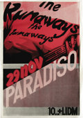 Music Memorabilia:Posters, Runaways Paradiso Concert Poster (1977) The Runaways formed in 1975as a Kim Fowley production. By 1977's European tour, the...
