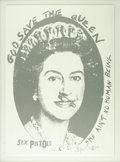 """Music Memorabilia:Posters, Sex Pistols """"God Save the Queen"""" Limited Edition Print #86/200(1997). The Sex Pistols were already infamous for their anti..."""