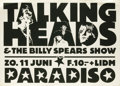 Music Memorabilia:Posters, Talking Heads Paradiso Concert Poster (circa 1977) Art-rockdarlings the Talking Heads played Amsterdam's Paradiso a number ...