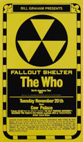 "Music Memorabilia:Posters, The Who ""Fallout Shelter"" Cow Palace Concert Poster (Bill Graham,1973) An eyecatching design graces this unusual poster, ad..."
