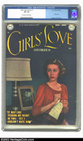 Golden Age (1938-1955):Romance, Girls' Love Stories #1 (DC, 1949) CGC FN- 5.5 Off-white to whitepages. This issue has a photo cover. Overstreet 2002 FN 6.0...