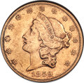 Liberty Double Eagles, 1859 $20 -- Cleaned -- ANACS. AU55 Details....