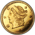 California Fractional Gold , 1870 25C Liberty Round 25 Cents, BG-808, R.3, MS67+ PCGS....