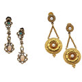 Estate Jewelry:Earrings, Opal, Cultured Pearl, Gold, Gold-Filled Earrings. ...